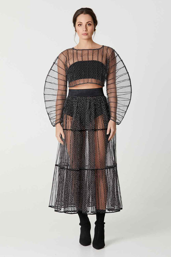 AFAF TULLE CROP TOP