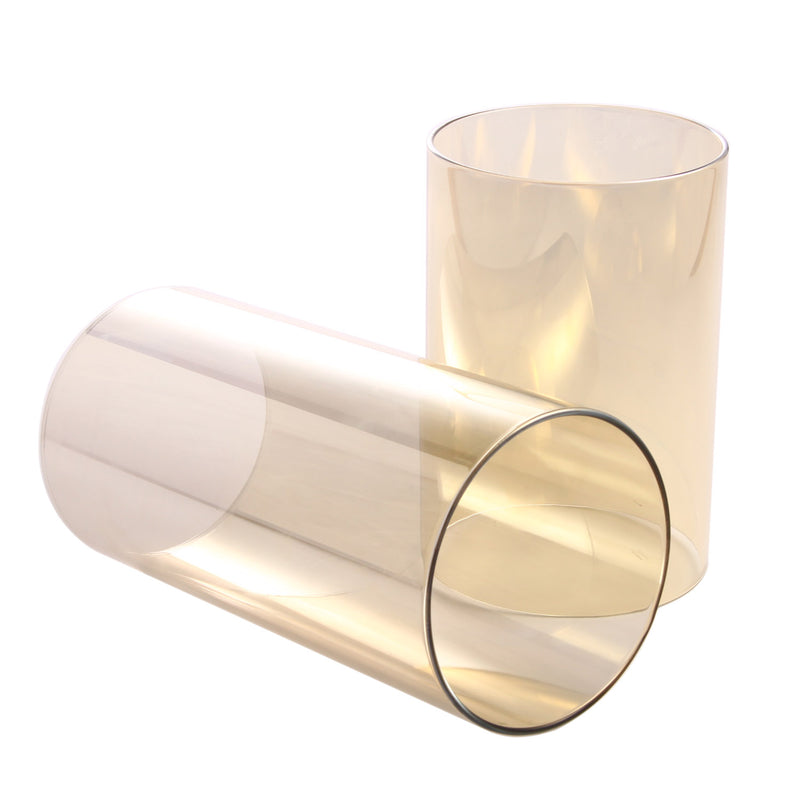 "Light Golden Borosilicate Glass Wide 4.75"", Light Brown Candle Holder, Glass Chimney for Candle Open Ended, Light Golden Glass Hurricane Candle Holders Diameter 4.75 inches"