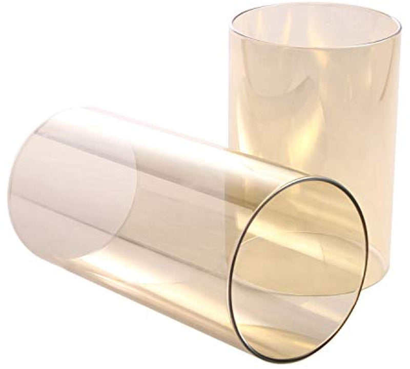 "Light Golden Borosilicate Glass Wide 5"", Light Brown Candle Holder, Glass Chimney for Candle Open Ended, Light Golden Glass Hurricane Candle Holders Diameter5 inches"