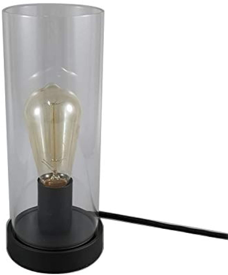 Vintage Desk Lamp Table Lamp Black Round Base Glass Cylinder Shade LED Edison Bulb for Living Room,Bedroom,Office(No Bulb) (Clear)