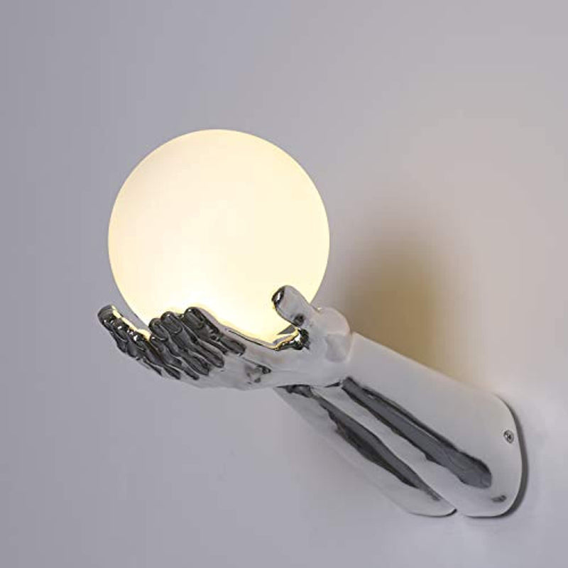 Resin Material Two Hands Holding A Glass Globe Wall Lighting Fixture for Corridor,Bedroom,Kitchen,Restaurant,Cafe Bar, Living Room (NO Bulb)