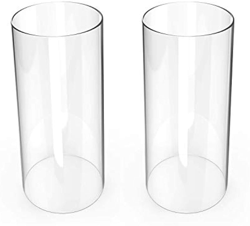 Hurricane Candleholders, Clear Candle Holder, Glass Chimney for Candle Open Ended (2 Packs) 2.5 inches