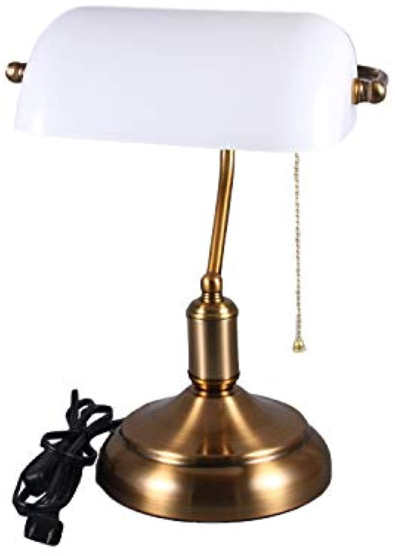 Retro Style Bankers Lamp,Desk Lamp Brass Base White Glass Shade Banker's Desk Lamp for Living Room Office(No Blub)