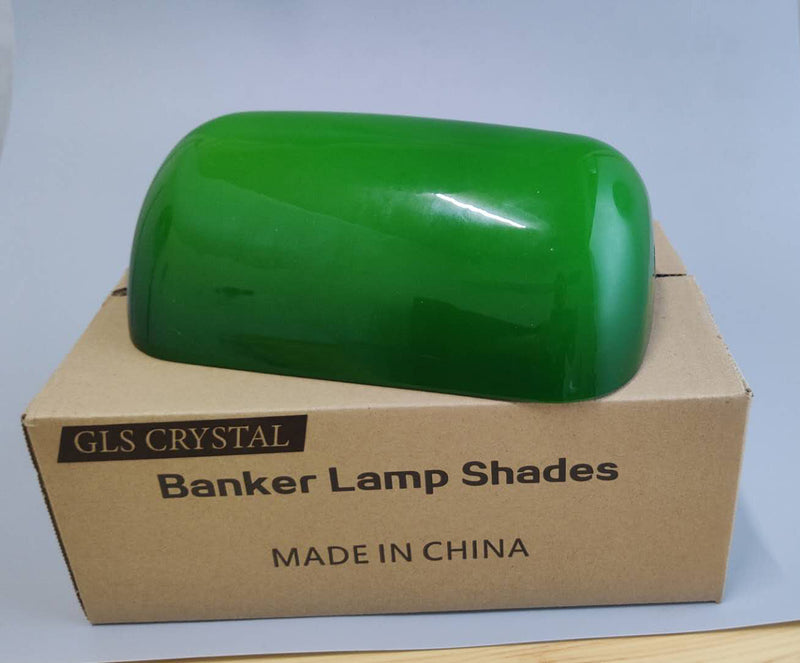 GLS Crystal Green Glass Bankers Lamp Shade Replacement Cover, 8 2/3 (22cm)
