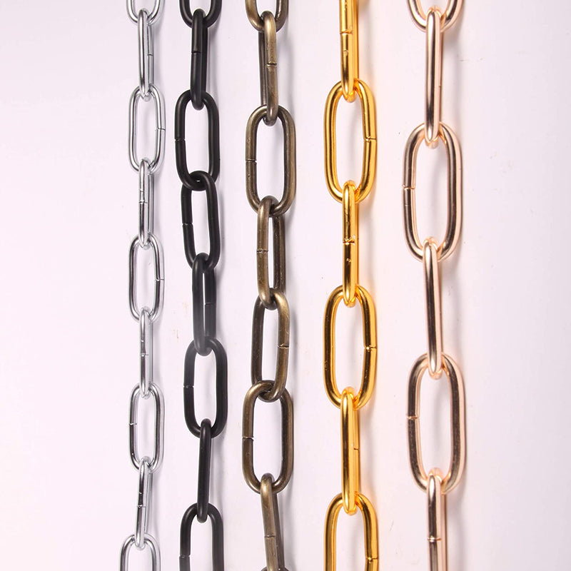 Pendant Light Fixture Chain Iron Chain for Chandeliers On High Ceilings Basket Hanging Chain for Decoration (Dark Gold)
