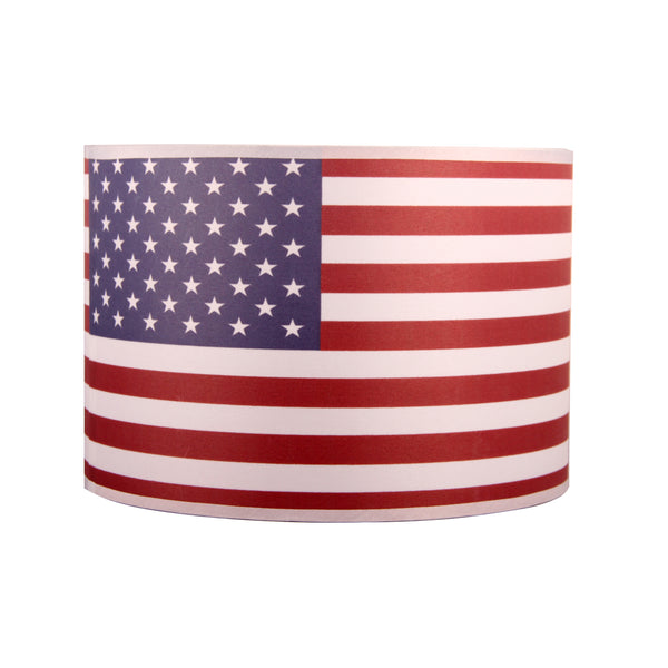Fabric Drum Lampshade,American Flag lampshade with European Attachment or Spider Attachment