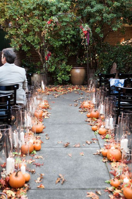 Fall Wedding Aisle Decoration Idea
