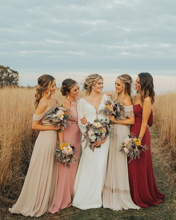 how to mix & match bridesmaid dress for autumn wedding