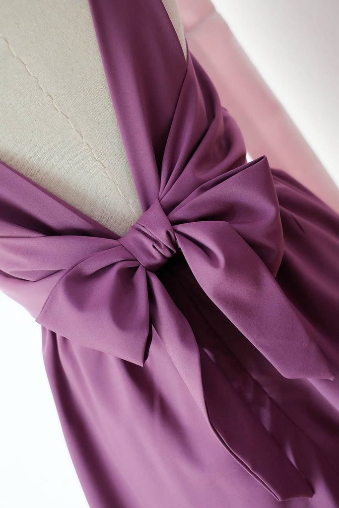 purple v-back bridesmaid dress