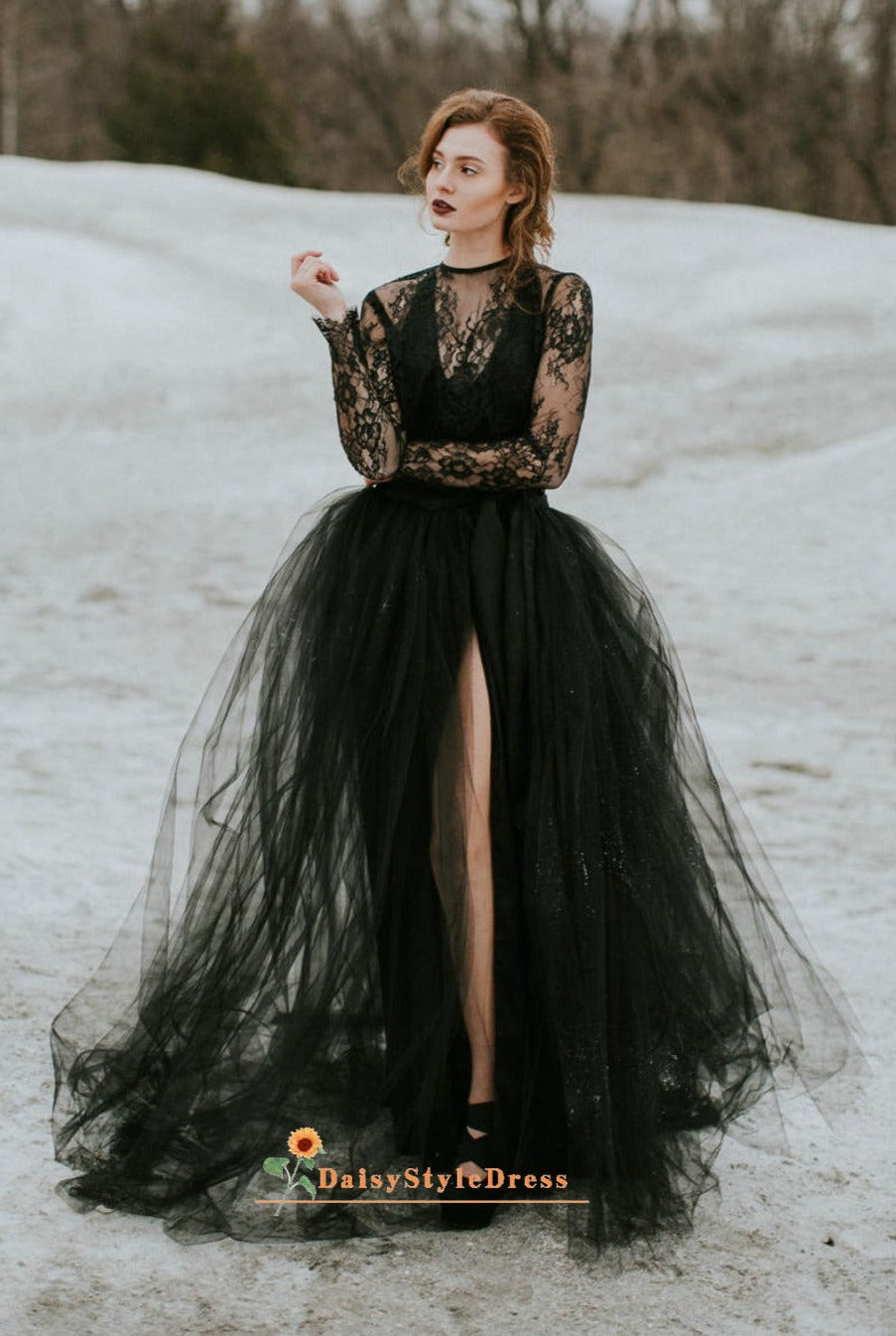 Detachable skirt black wedding dress