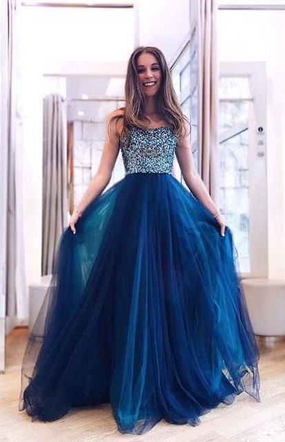 long dark blue prom dress
