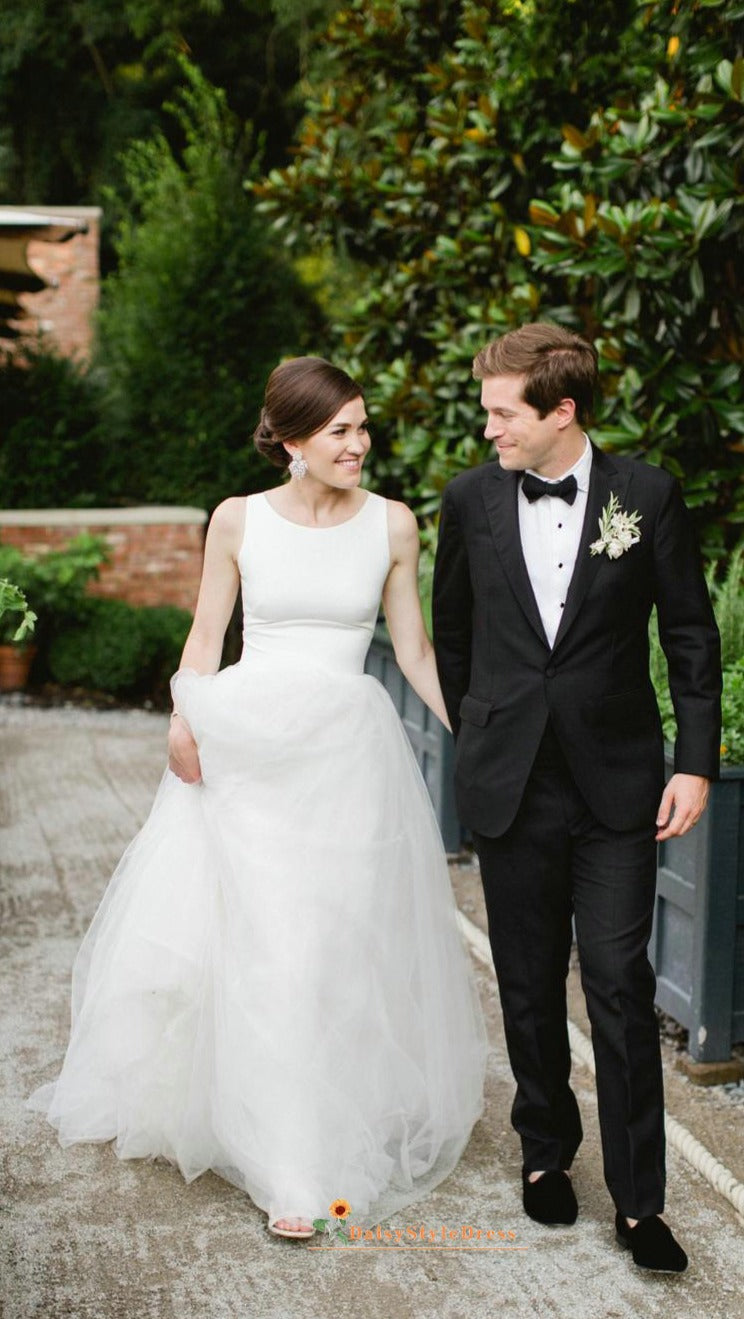 scoop neckline wedding dress