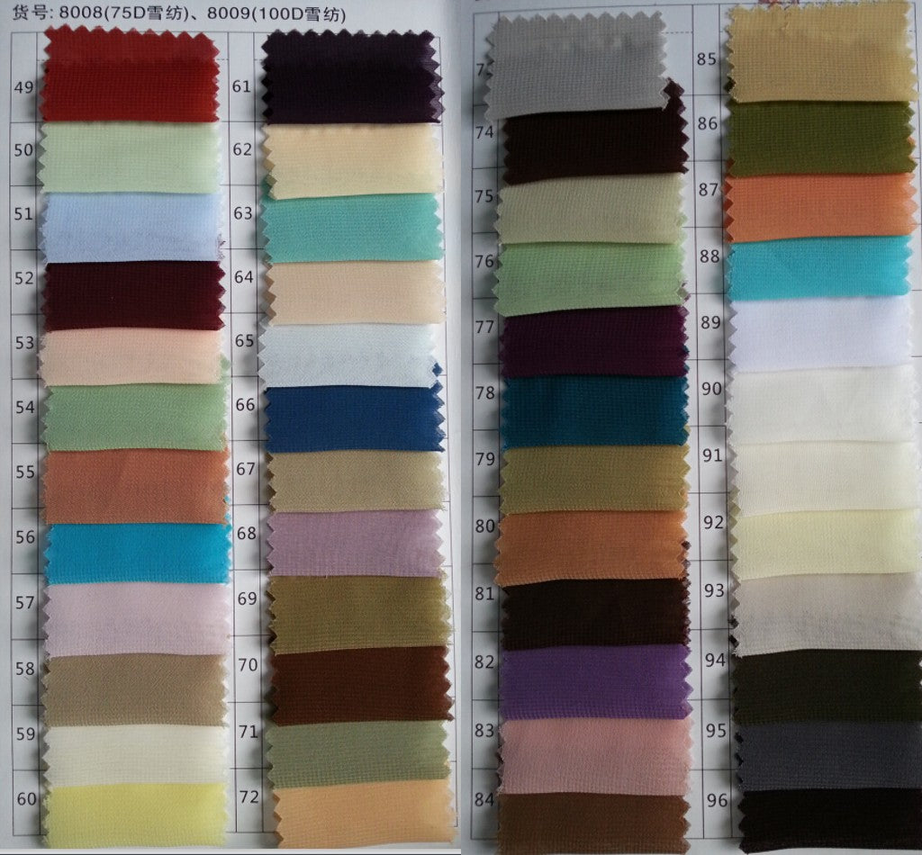 Chiffon Color Chart--100D - daisystyledress