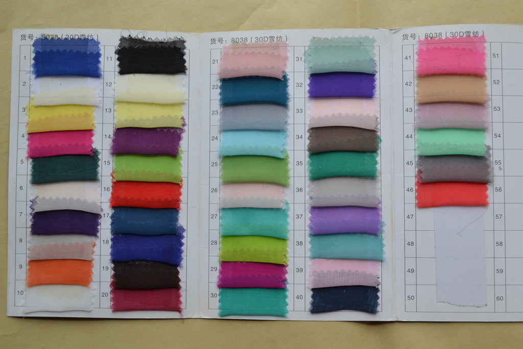 Chiffon Color Chart--30D - daisystyledress