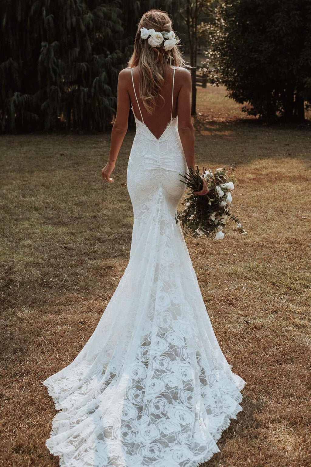 low back fitted wedding dress