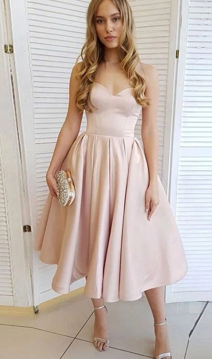 Simple Vintage Tea Length Blush Party Dress - daisystyledress