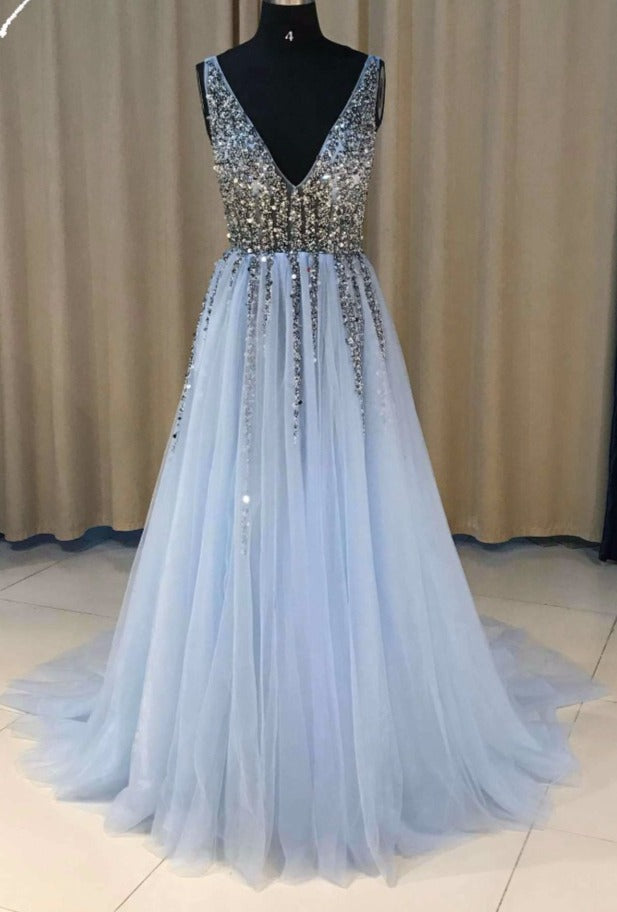 beaded blue pageant dress