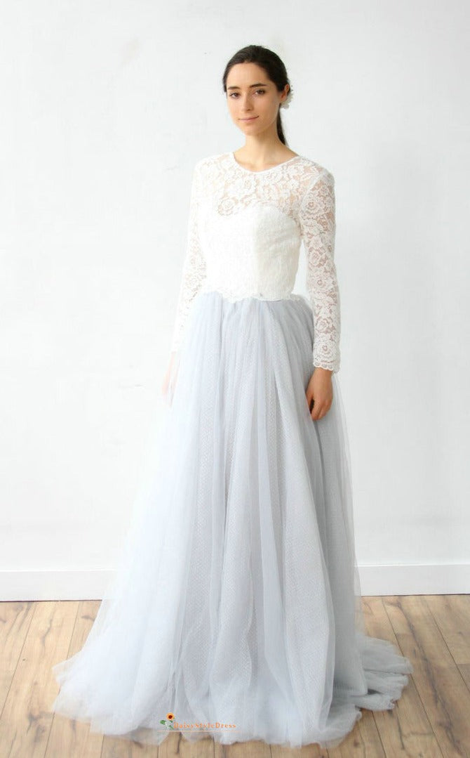 Modest Long Sleeve Gray Blue Wedding Dress
