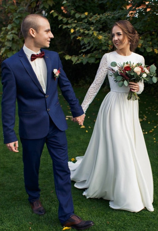 long sleeve modest wedding dress