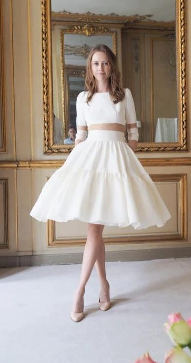 Informal High Neckline Short Wedding Dress - daisystyledress
