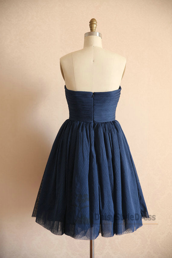 Cute Knee Length Navy Blue Tulle Homecoming Dress - daisystyledress