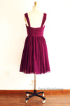 Knee Length V-neckline Burgundy Bridesmaid Dress - daisystyledress