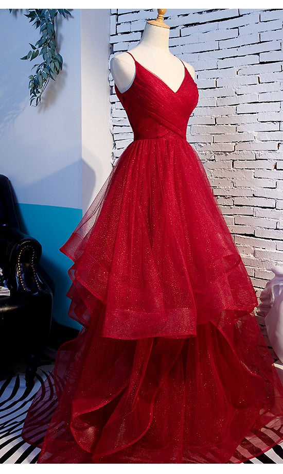 Fashion Spaghetti Straps Ball Gown Dark Red Prom Dress - daisystyledress