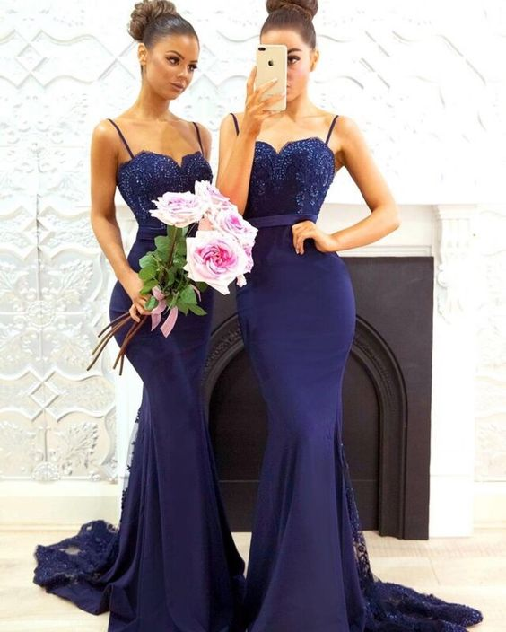 Mermaid Spaghetti Straps Navy Blue Bridesmaid Dress - daisystyledress