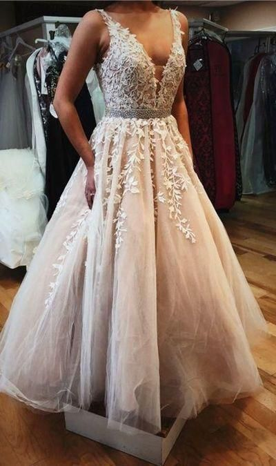 light champagne prom dress