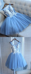 Short Light Blue Tulle Homecoming Dress - daisystyledress