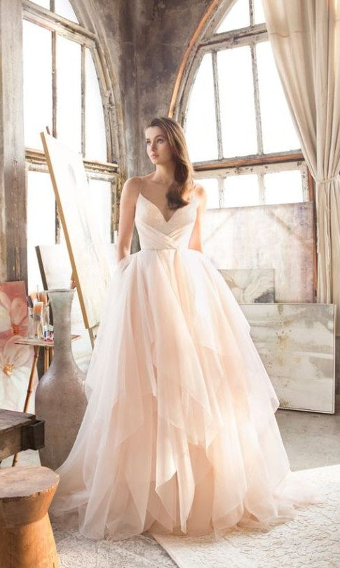 Blush Wedding Dress.New Arrival Spaghetti Straps Blush Wedding Dress