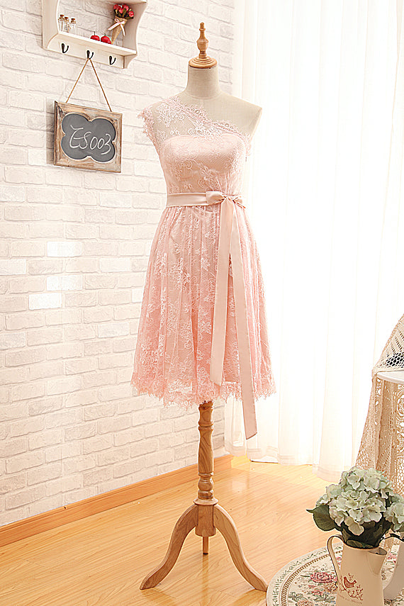Short One Shoulder Pearl Pink Lace Bridesmaid Dress - daisystyledress