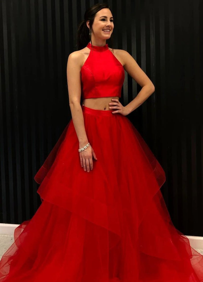Two Piece Red Prom Dress - daisystyledress