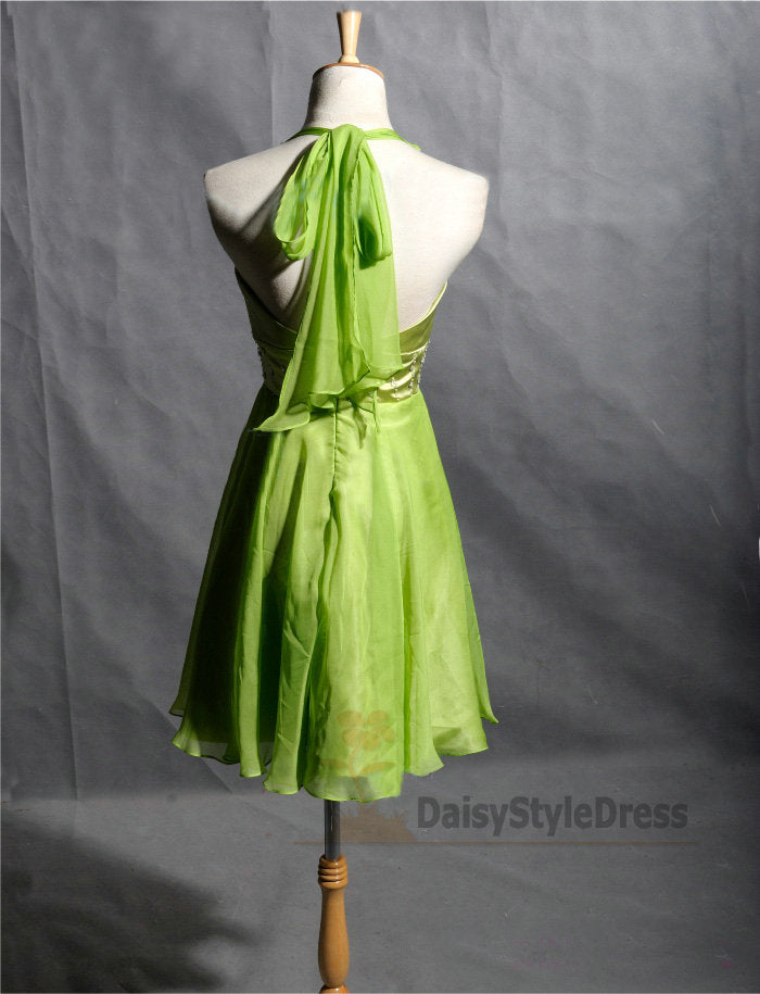 Knee Length Halter Neckline Light Green Homecoming Dress - daisystyledress