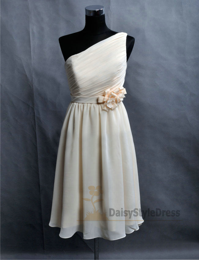 Short One Shoulder Light Champagne Dinner Party Dress - daisystyledress