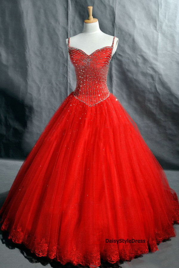 Ball Gown Spaghetti Straps Red Wedding Dress - daisystyledress