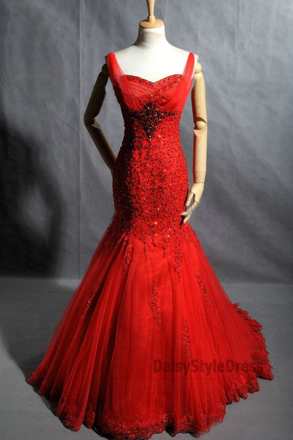 Mermaid Red Lace Wedding Dress - daisystyledress