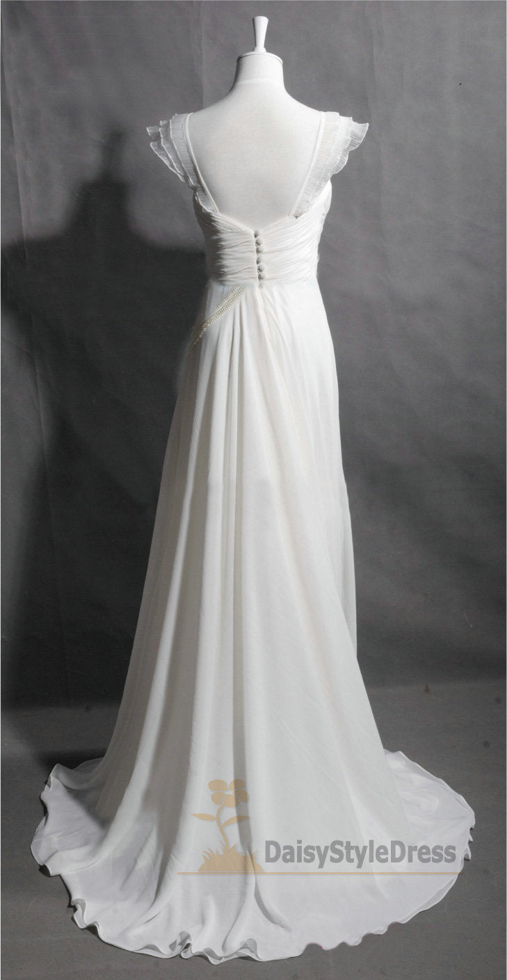 Floor Length Chiffon Summer Wedding Dress - daisystyledress