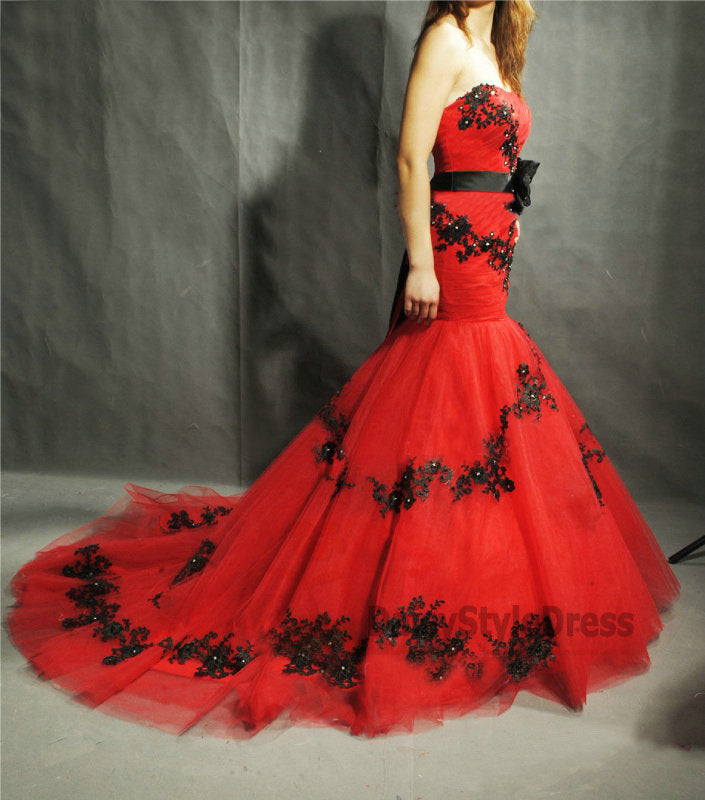 Mermaid Red and Black Wedding Dress - daisystyledress