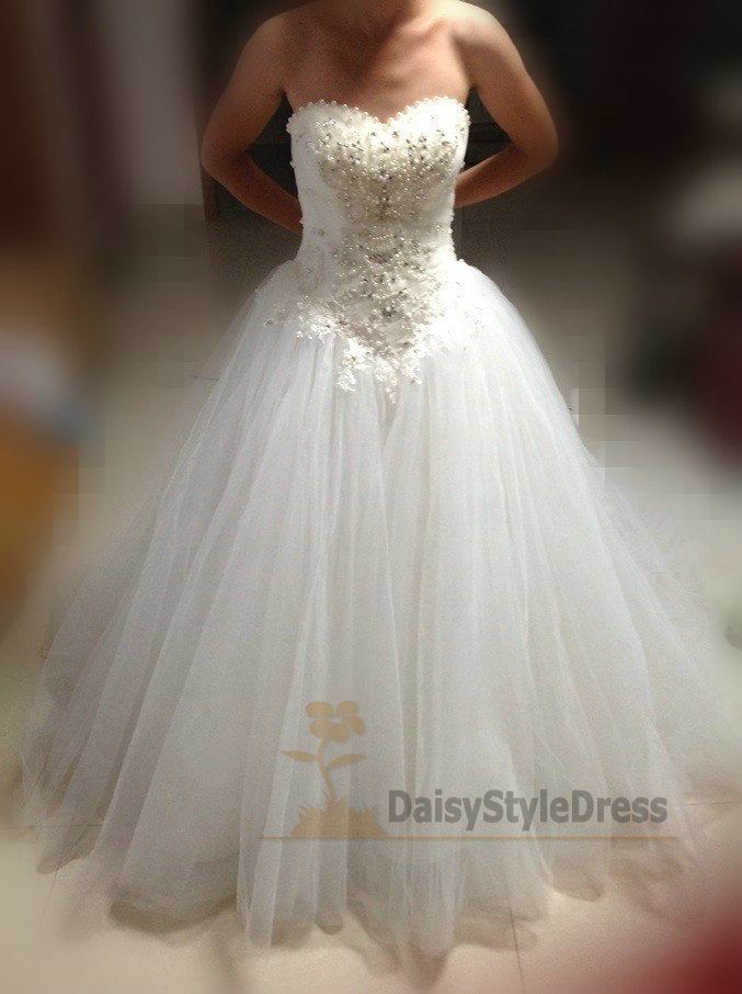 Ball Gown Sweetheart Tulle Wedding Dress - daisystyledress