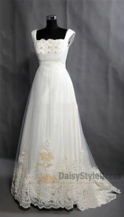 Square Neckline Wedding Dress - daisystyledress