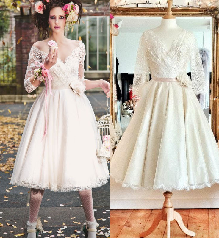 Informal Tea Length Long Sleeve Vintage Wedding Dress - daisystyledress