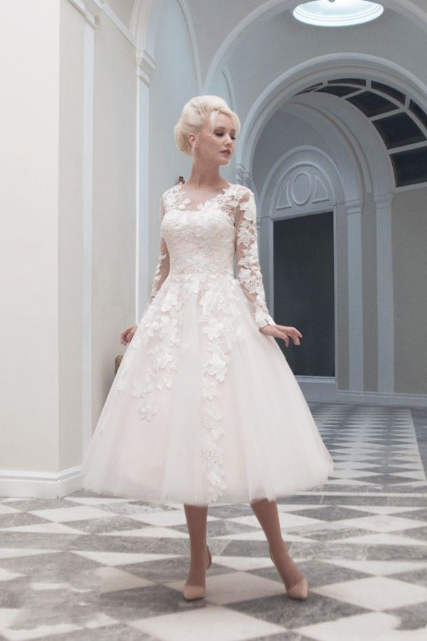 Tea Length Long Sleeve Wedding Dress - daisystyledress