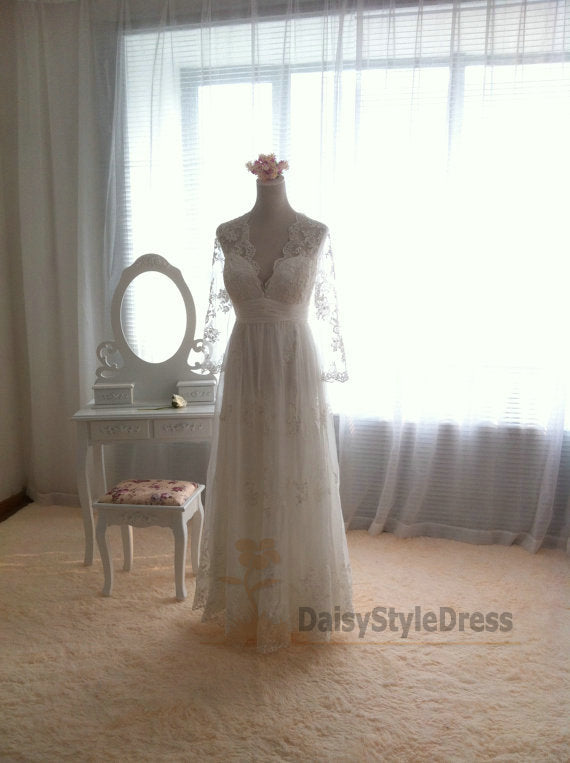 Lace Long Sleeve Boho Wedding Dress - daisystyledress