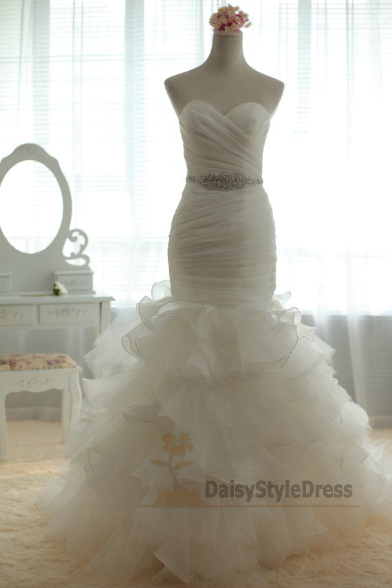 Mermaid Ivory Organza Tiered Skirt Wedding Dress - daisystyledress