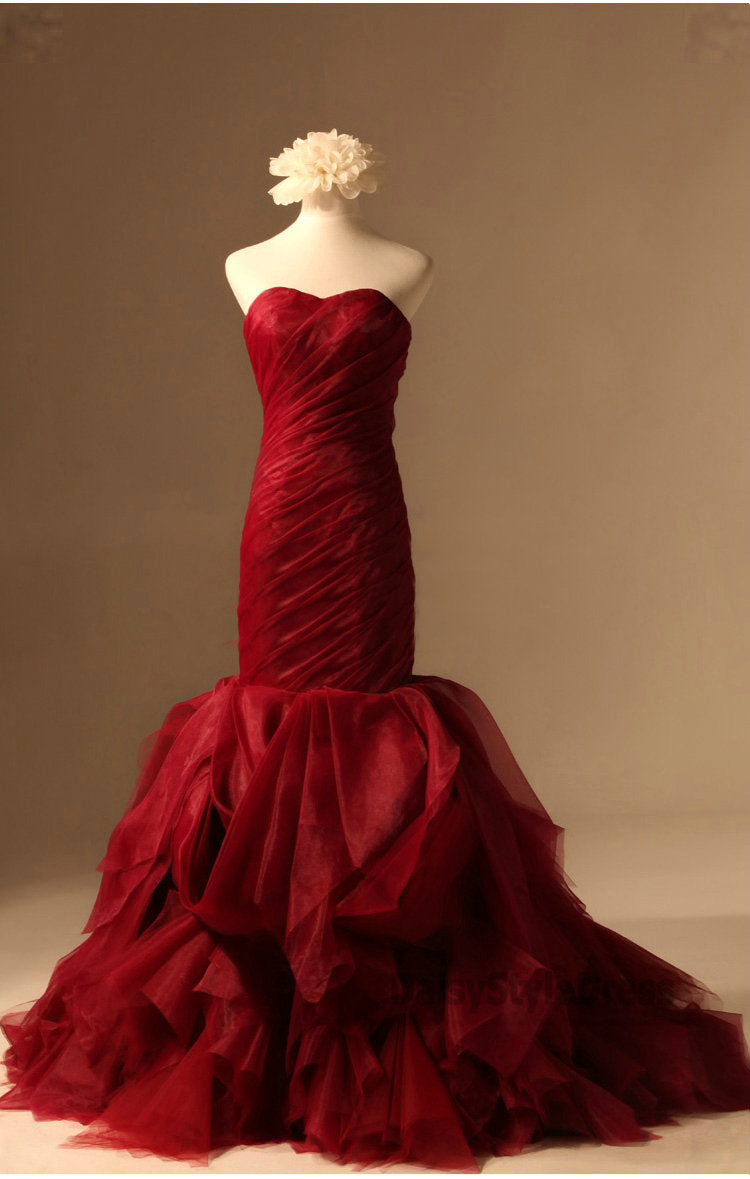 Mermaid Burgundy Wedding Dress - daisystyledress