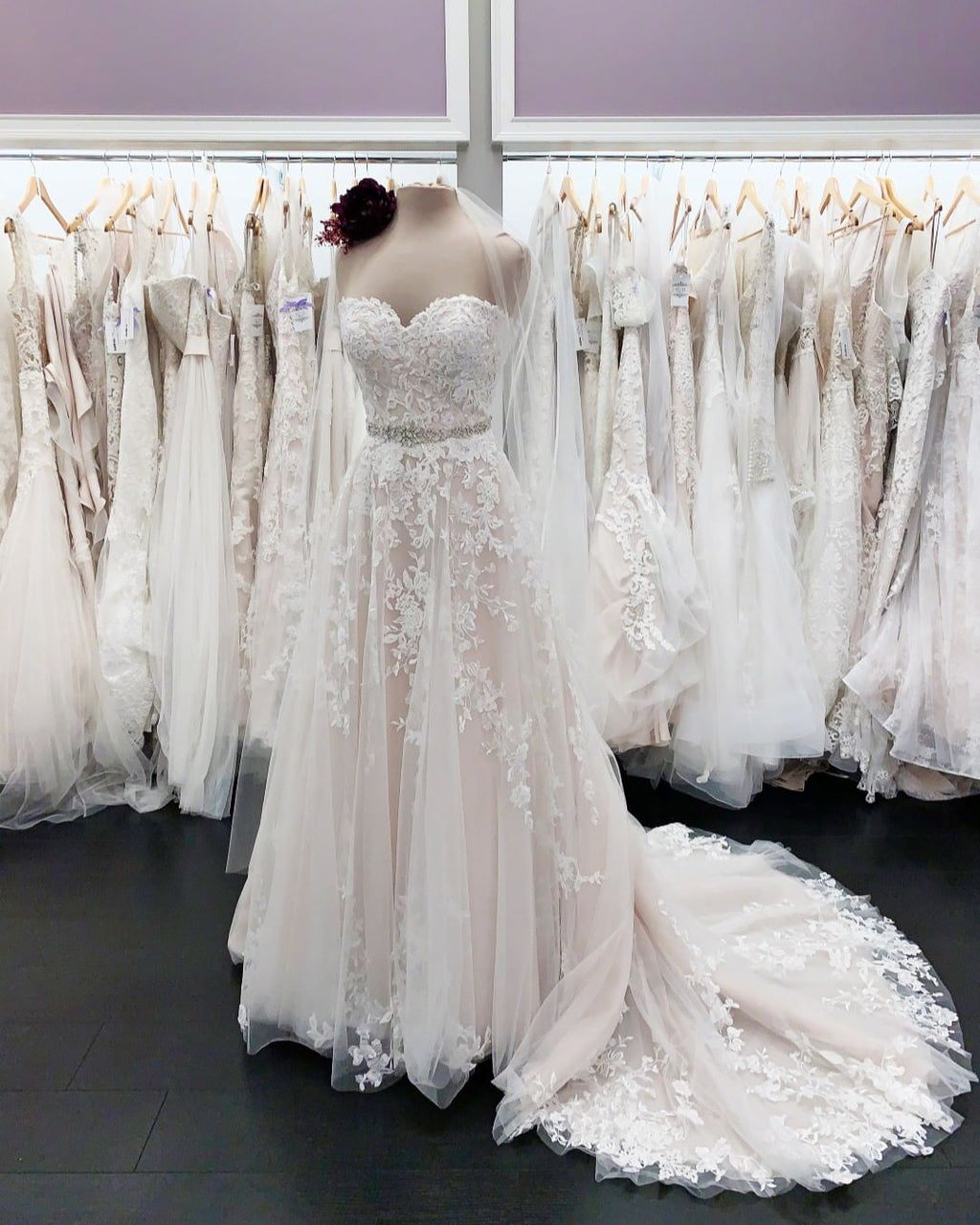 A line blush wedding dress