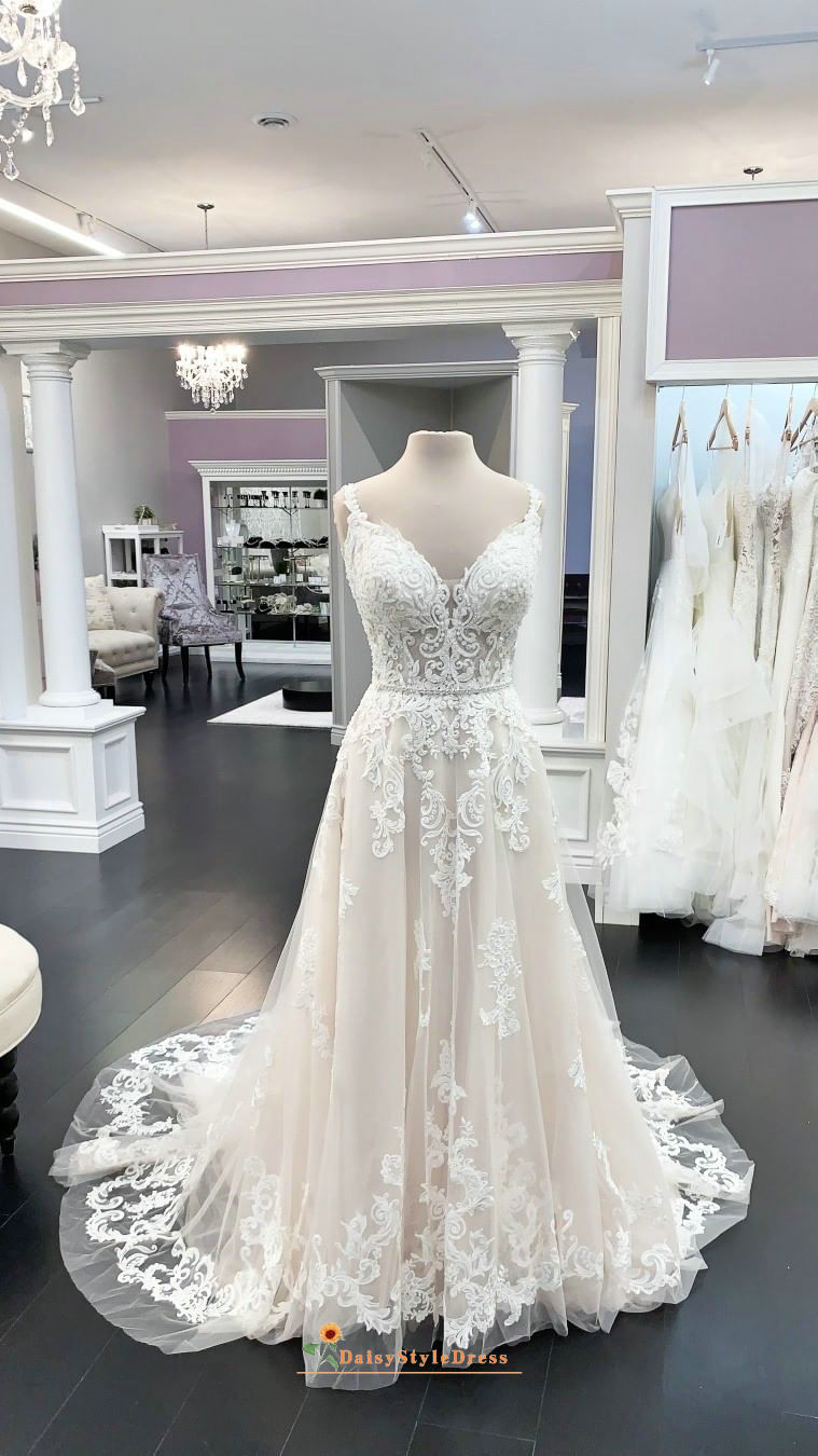 A line V-back Nude Lace Wedding Dress