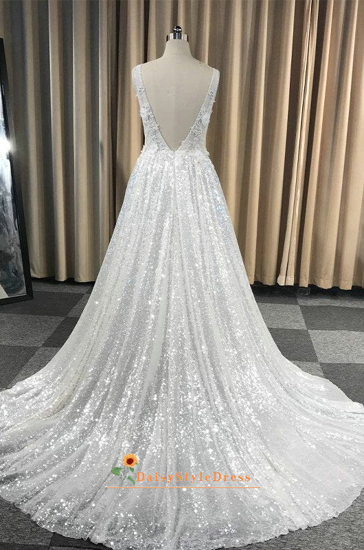 low v back wedding dress