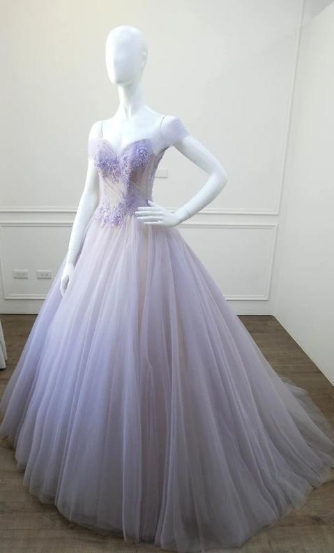 Ball Gown Off Shoulder Sleeve Lilac Prom Dress - daisystyledress